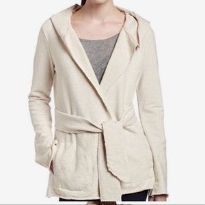 Lucky Brand Tan Hooded Wrap Sweater Cardigan M